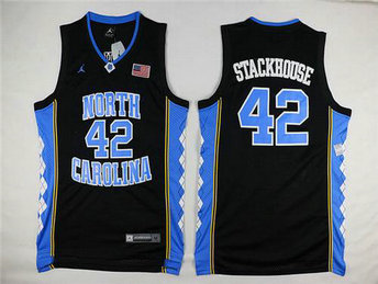 Men's North Carolina Tar Heels #42 Jerry Stackhouse 2016 Black Swingman College Basketball Jersey