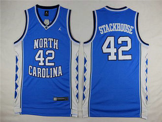 Men's North Carolina Tar Heels #42 Jerry Stackhouse 2016 Light Blue Swingman College Basketball Jersey