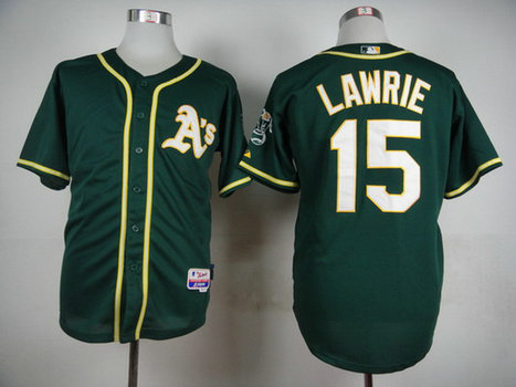 Men's Oakland Athletics #15 Brett Lawrie 2014 Dark Green Jersey