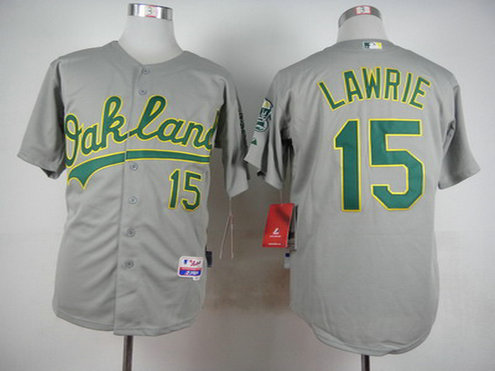 Men's Oakland Athletics #15 Brett Lawrie Gray Jersey