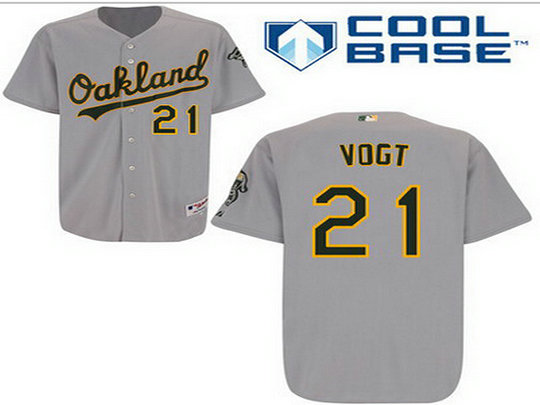 Men's Oakland Athletics #21 Stephen Vogt Gray Jersey