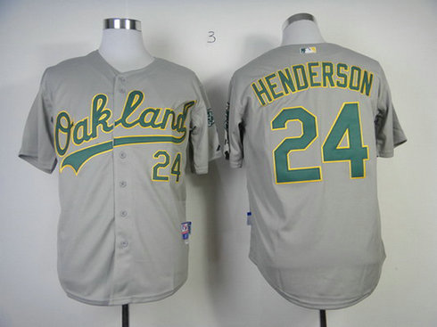Men's Oakland Athletics #24 Rickey Henderson Away Gray MLB Cool Base Jersey