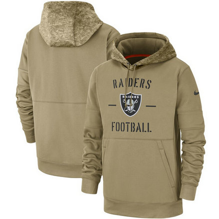 Men's Oakland Raiders Nike Tan 2019 Salute To Service Name & Number Sideline Therma Pullover Hoodie