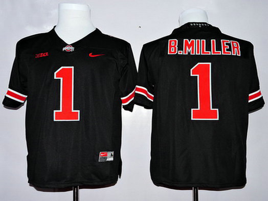 Men's Ohio State Buckeyes #1 Baxton Miller Black With Red College Football Nike Limited Jersey