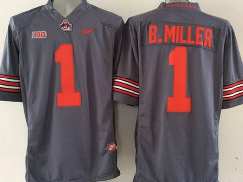 Men's Ohio State Buckeyes #1 Baxton Miller Gray 2015 College Football Nike Limited Jersey