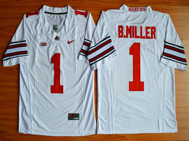 Men's Ohio State Buckeyes #1 Baxton Miller White 2015 College Football Nike Limited Jersey