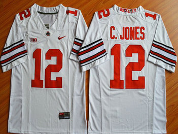 Men's Ohio State Buckeyes #12 Cardale Jones White 2015 College Football Nike Limited Jersey