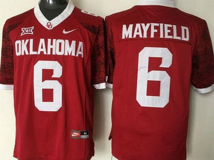 Men's Oklahoma Sooners #6 Baker Mayfield Red 2016 College Football Nike Jersey