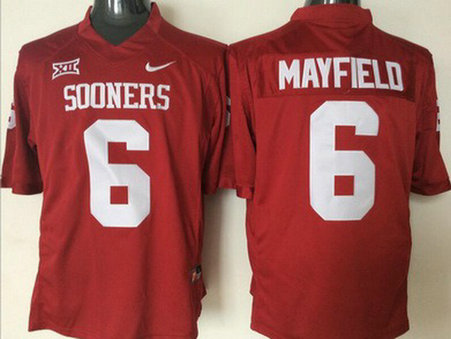 Men's Oklahoma Sooners #6 Baker Mayfield Red College Football Nike Jersey