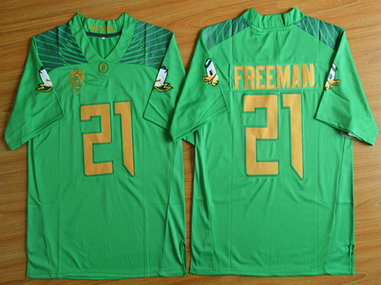 Men's Oregon Duck #21 Royce Freeman Light Green College Football Nike Limited Jersey