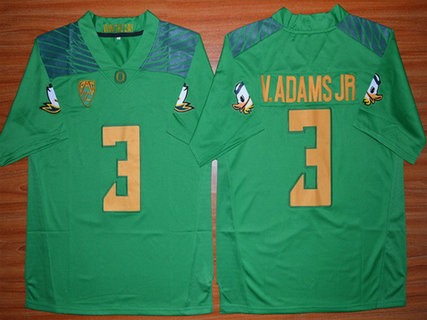 Men's Oregon Duck #3 Vernon Adams Jr Light Green College Football Nike Limited Jersey