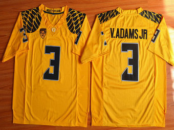 Men's Oregon Duck #3 Vernon Adams Jr Yellow College Football Nike Limited Jersey