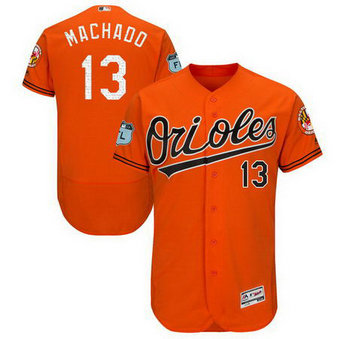 Men's Orioles 13 Manny Machado Orange 2017 Spring Training Flexbase Jersey