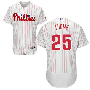 Men's Philadelphia Phillies #25 Jim Thome White(Red Strip) MLB Flexbase Authentic Collection Stitched Jerse