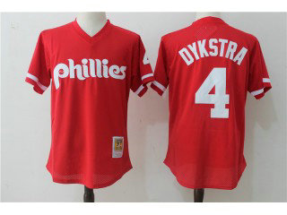Men's Philadelphia Phillies #4 Lenny Dykstra Red Cooperstown Collection Cool Base Mesh Stitched MLB Jersey