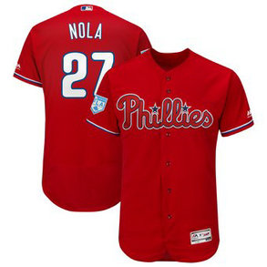 Men's Philadelphia Phillies 27 Aaron Nola Majestic Scarlet 2019 Spring Training Flex Base Player Jersey