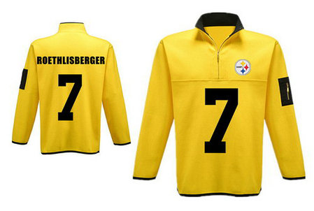 Men's Pittsburgh Steelers 7 Roethlisberger Antigua Charcoal Fortune Sweater Knit Microfleece Quarter-Zip Pullover Yellow Jacket