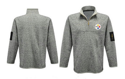 Men's Pittsburgh Steelers Blank Antigua Charcoal Fortune Sweater Knit Microfleece Quarter-Zip Pullover Light Gray Jacket