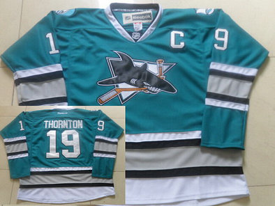 Men's Reebok San Jose Sharks #19 Joe Thornton Teal Green 25th Anniversary Premier 2015 NHL Reebok Jersey