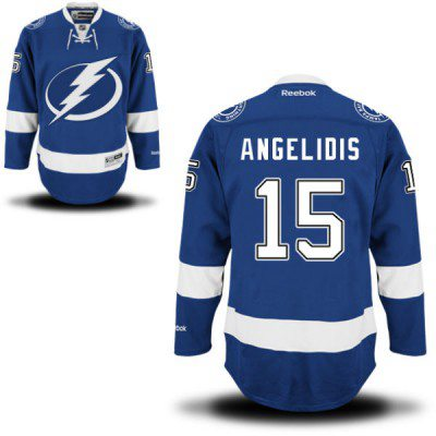 Men's Reebok Tampa Bay Lightning #15 Mike Angelidis Premier Royal Blue Home NHL Jersey