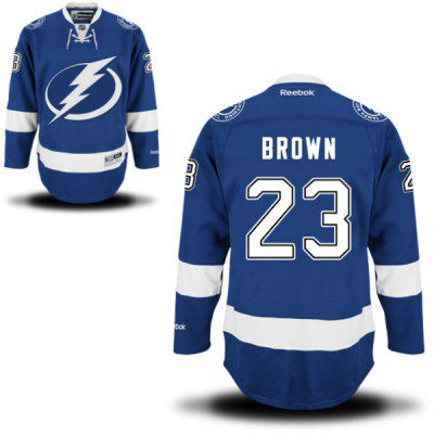 Men's Reebok Tampa Bay Lightning #23 J.T Brown Premier Royal Blue Home NHL Jersey