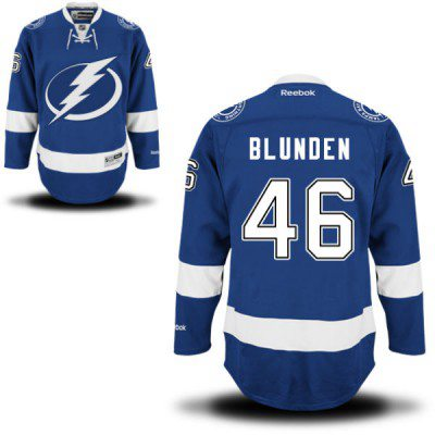 Men's Reebok Tampa Bay Lightning #46 Mike Blunden Premier Royal Blue Home NHL Jersey