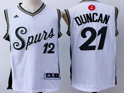 Men's San Antonio Spurs #21 Tim Duncan Revolution 30 Swingman 2015 Christmas Day White Jersey
