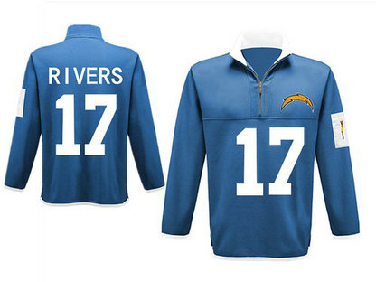 Men's San Diego Chargers 17 Rivers Antigua Charcoal Fortune Sweater Knit Microfleece Quarter-Zip Pullover Light Blue Jacket