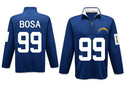 Men's San Diego Chargers 99 Bosa Antigua Charcoal Fortune Sweater Knit Microfleece Quarter-Zip Pullover Blue Jacket