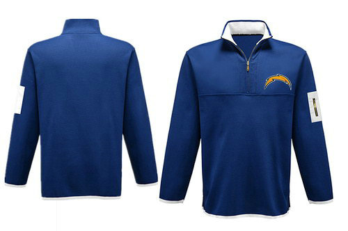 Men's San Diego Chargers Blank Antigua Charcoal Fortune Sweater Knit Microfleece Quarter-Zip Pullover Blue Jacket