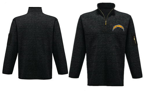 Men's San Diego Chargers Blank Antigua Charcoal Fortune Sweater Knit Microfleece Quarter-Zip Pullover Dark Gray Jacket