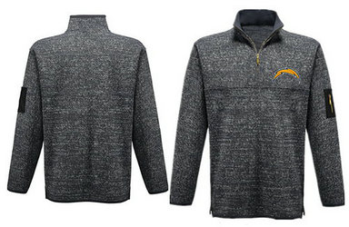Men's San Diego Chargers Blank Antigua Charcoal Fortune Sweater Knit Microfleece Quarter-Zip Pullover Gray Jacket