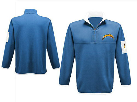 Men's San Diego Chargers Blank Antigua Charcoal Fortune Sweater Knit Microfleece Quarter-Zip Pullover Light BlueJacket