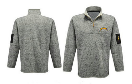 Men's San Diego Chargers Blank Antigua Charcoal Fortune Sweater Knit Microfleece Quarter-Zip Pullover Light Gray Jacket