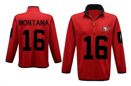 Men's San Francisco 49ers 16 Montana Antigua Gray Fortune Sweater Knit Microfleece Quarter-Zip Pullover Red Jacket