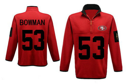 Men's San Francisco 49ers 53 Bowman Antigua Gray Fortune Sweater Knit Microfleece Quarter-Zip Pullover Red Jacket