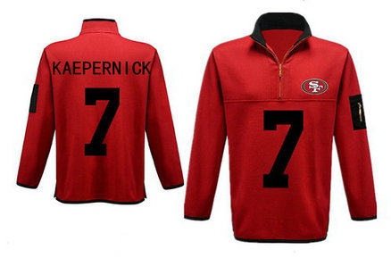 Men's San Francisco 49ers 7 Kaepernick Antigua Gray Fortune Sweater Knit Microfleece Quarter-Zip Pullover Red Jacket