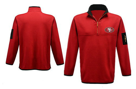 Men's San Francisco 49ers Blank Antigua Gray Fortune Sweater Knit Microfleece Quarter-Zip Pullover Red Jacket