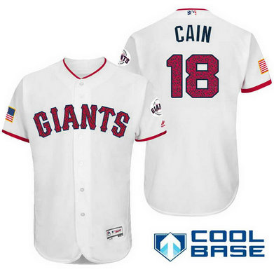Men's San Francisco Giants #18 Matt Cain White Stars & Stripes Fashion Independence Day MLB Majestic Cool Base Stitched Jersey