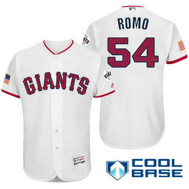 Men's San Francisco Giants #54 Sergio Romo White Stars & Stripes Fashion Independence Day MLB Majestic Cool Base Stitched Jersey