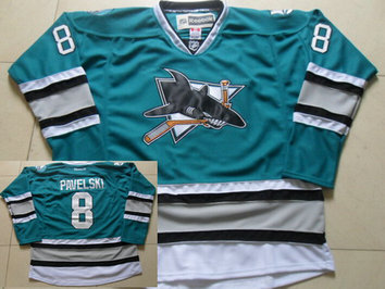 Men's San Jose Sharks #8 Joe Pavelski Teal Green 25th Anniversary Premier 2015 NHL Reebok Jersey