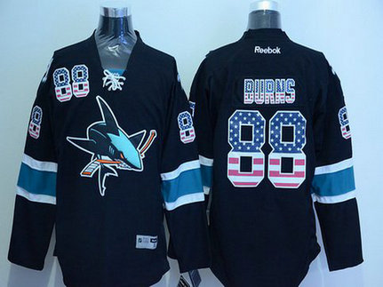 Men's San Jose Sharks #88 Brent Burns Black USA Flag Hockey Jersey
