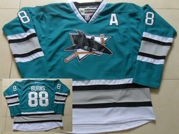 Men's San Jose Sharks #88 Brent Burns Teal Green 25th Anniversary Premier 2015 NHL Reebok Jersey