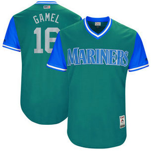 Men's Seattle Mariners #16 Ben Gamel Nick Name Gamel Majestic Aqua 2017 Players Weekend Jersey