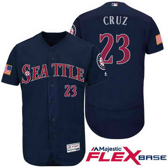Men's Seattle Mariners #23 Nelson Cruz Navy Blue Stars & Stripes Fashion Stitched Jersey