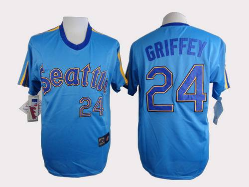 Men's Seattle Mariners #24 Ken Griffey Blue Majestic Jersey