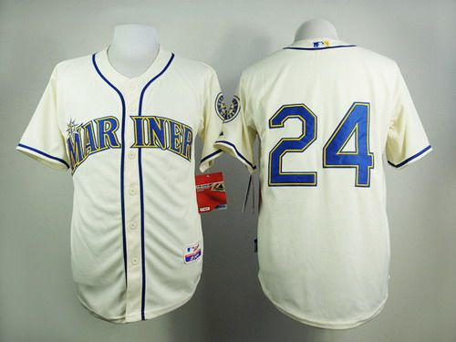 Men's Seattle Mariners #24 Ken Griffey Cream Jersey