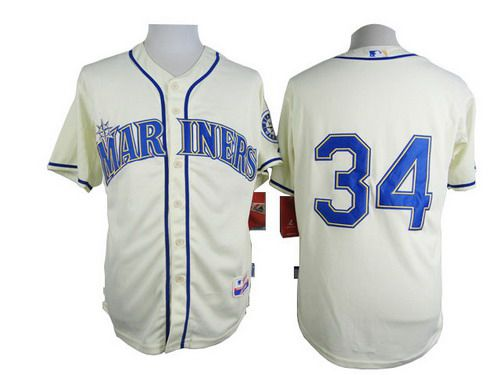 Men's Seattle Mariners #34 Felix Hernandez Cream Jersey