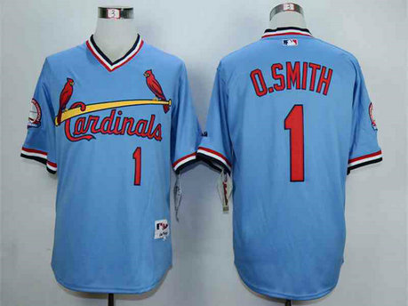 Men's St. Louis Cardinals #1 Ozzie Smith Blue 1982 Turn Back The Clock Jersey