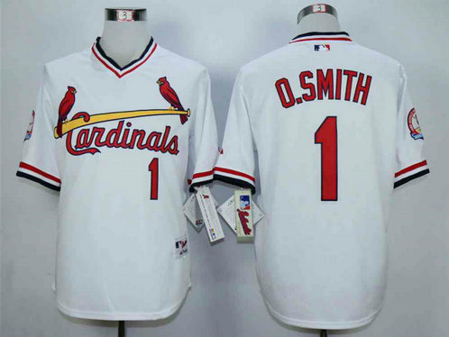 Men's St. Louis Cardinals #1 Ozzie Smith White 1982 Turn Back The Clock Jersey